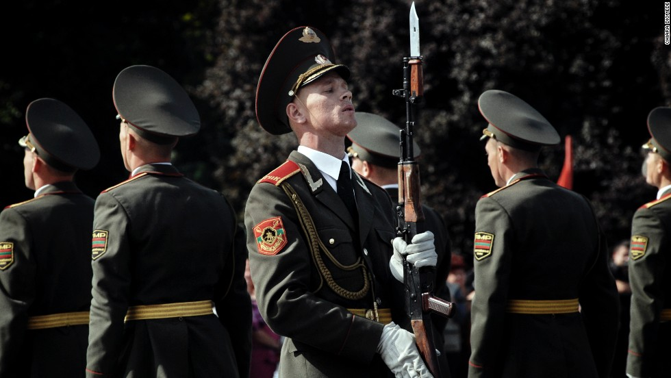 Transnistrian army and police are seen during the parade in 2009. Transnistria split from Moldova, a former Soviet republic, in a two-year war that erupted as the Soviet Union fell apart. The Russians stepped in to back Transnistria but never recognized it as an independent state.