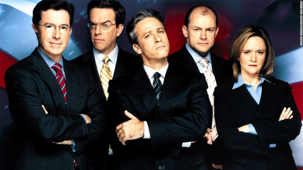 "Colbert, left, was originally one of ""The Daily Show's"" correspondents. He began with the show during its Craig Kilborn era and stayed when Jon Stewart, center, came to host in 1999. Others on the show included, from left, Ed Helms, Rob Corddry and Samantha Bee."