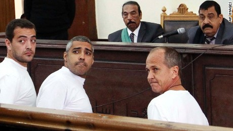 Al Jazeera journalists Baher Mohamed, Mohamed Fahmy and Peter Greste appear in court earlier this year.