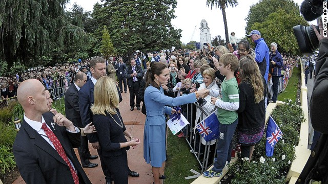 "This handout photo taken on April 10, 2014 and provided by Woolf / Crown Copyright shows Catherine, the Duchess of Cambridge (C), meeting locals whilst on a walkabout in Seymour Square during a visit to the New Zealand city of Blenheim on April 10, 2014. Britain's Prince William, Kate and their son Prince George are on a three-week tour of New Zealand and Australia. AFP PHOTO / Woolf Crown Copyright  ----EDITORS NOTE ----RESTRICTED TO EDITORIAL USE MANDATORY CREDIT "" AFP PHOTO / Woolf Crown Copyright - NO MARKETING - NO ADVERTISING CAMPAIGNS - DISTRIBUTED AS A SERVICE TO CLIENTS - NO ARCHIVESWoolf Crown Copyright/AFP/Getty Images"