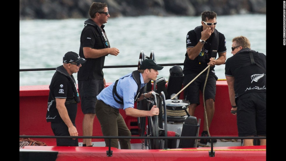 William steers a yacht in Waitemata Harbour in Auckland on April 11.