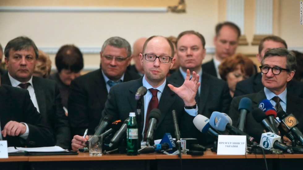 Ukrainian Prime Minister Arseniy Yatsenyuk speaks April 11 during his meeting with regional leaders in Donetsk. Yatsenyuk flew into Donetsk, where pro-Russian separatists occupied the regional administration building and called for a referendum.
