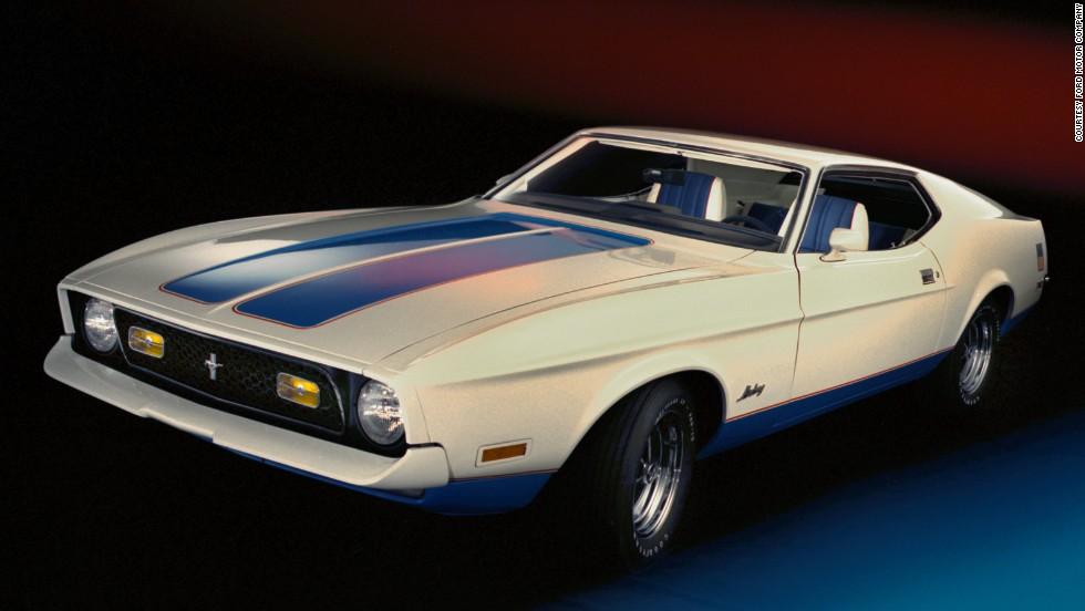 <strong>1972 Ford Mustang Sprint edition fastback.</strong> The Sprint was the only new model offered for 1972. It included a special red, white and blue exterior package with coordinated interior.