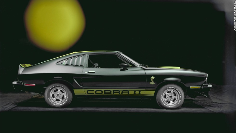 <strong>1977 Ford Mustang II Cobra II. </strong>In an attempt to win back convertible fans, Ford offered a removable T-top option on fastback models. A four-speed manual transmission was also added by the way of a sports performance package with the 302-cubic-inch V-8.
