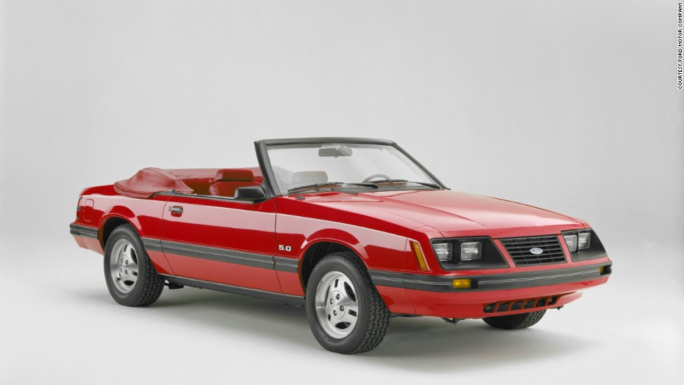 <strong>1983 Ford Mustang convertible. </strong>The convertible returned after being absent for 10 years. The Mustang GT's 5.0-liter V-8 also got a boost from a Holley four-barrel carburetor, beefing up the horsepower to 175.