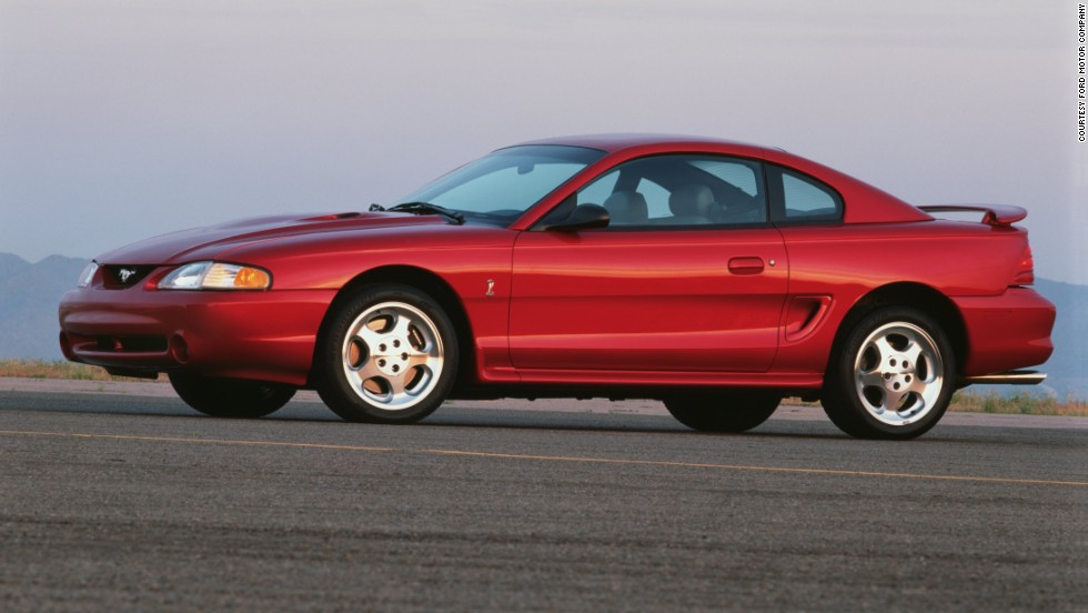 <strong>1996 Ford Mustang Cobra Coupe. </strong>The Cobra featured Ford's new 4.6-liter modular V-8 -- the first production Ford V-8 to use overhead camshafts. The Cobra used dual-overhead cams and four valves per cylinder to generate 305 horsepower and 300 pound-feet of torque.