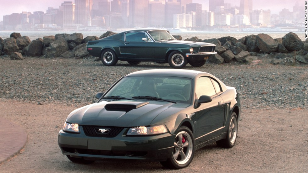 "<strong>2001 Ford Mustang Bullitt GT. </strong>Inspired by the 1968 Mustang GT390 driven by Steve McQueen in the movie classic ""Bullitt,"" the Mustang Bullitt GT was also finished in the same dark green as in the movie."