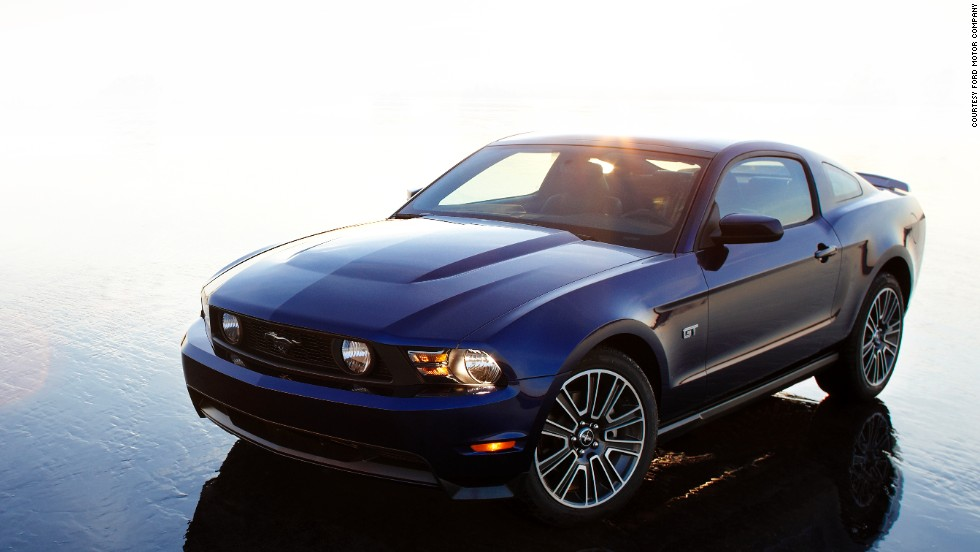 <strong>2010 Mustang GT. </strong>The 2010 Mustang was redesigned with more sculpted haunches, chamfered rear corners and a trapezoidal grille.