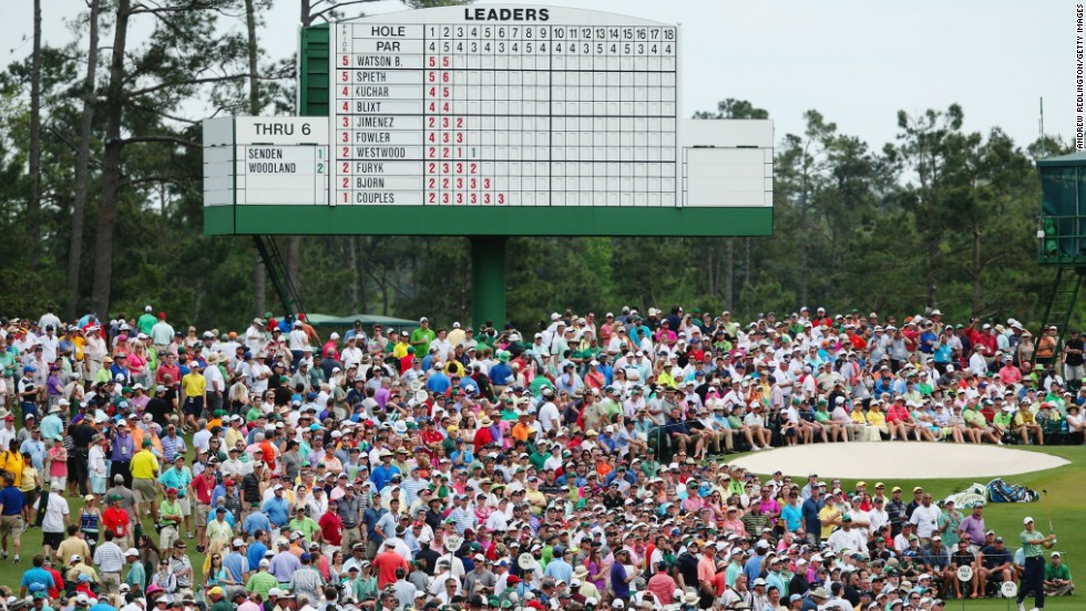 Large crowds gathered to watch the leaders fight it out for Masters supremacy on the final day at Augusta.
