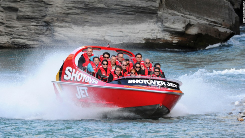 The duke and duchess ride on a jet boat along the Shotover River in Queenstown, New Zealand, on Sunday, April 13.