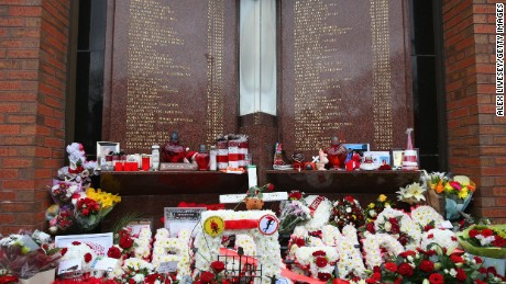 Floral tributes laid in memory of the victims of the Hillsborough disaster.