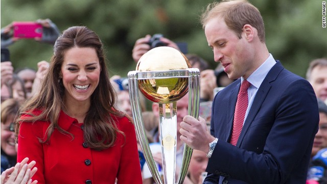 Catherine, Duchess of Cambridge and Prince William Duke of Cambridge with the Cricket World Cup in Latimer Square Gardens on April 14, 2014 in Christchurch, New Zealand.