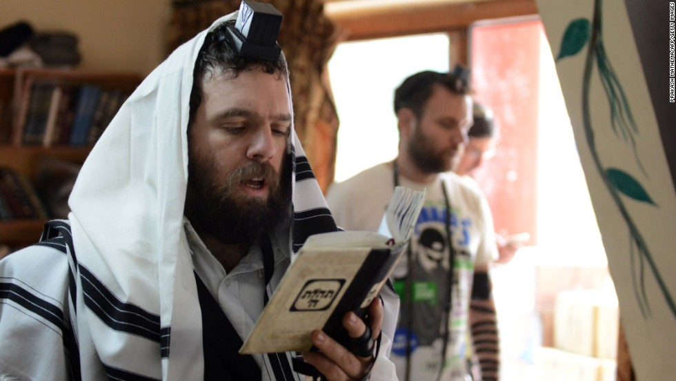 Israeli Jewish worshippers pray during a Passover ceremony in Kathmandu, Nepal, on April 14.
