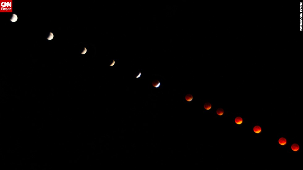 "<a href=""http://ireport.cnn.com/docs/DOC-1121025"">Joel Morales</a> says he superimposed 100 separate images to create this progression photo of the blood moon over Dundedin, Florida, in April."