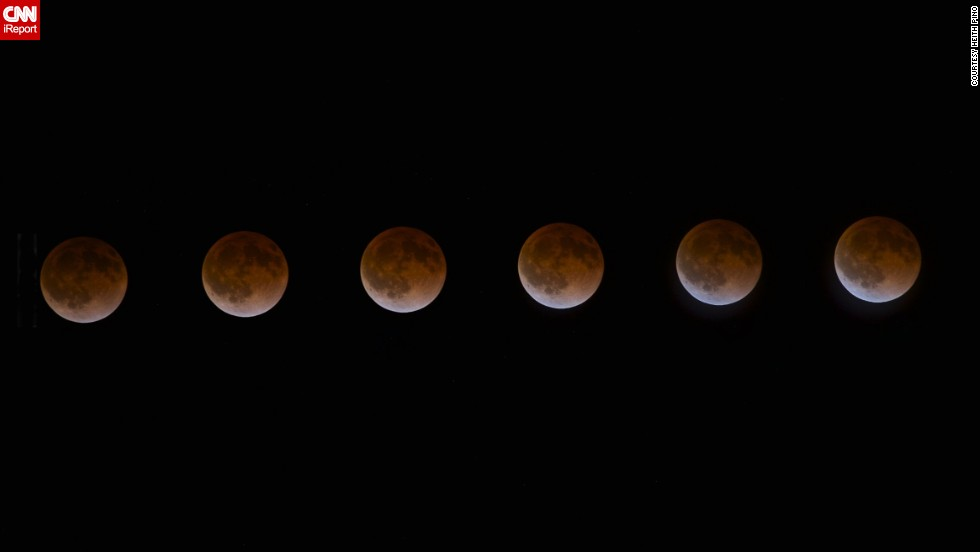 "iReporter <a href=""http://ireport.cnn.com/docs/DOC-1120903"">Heith Pino</a> of St. Helena, California, used an intervalometer and a shutter release to capture a photo of the April blood moon every four minutes. He stitched together six shots to create this time-lapse photo series. ""I was blown away by the colors it reflected and knew I had to brave the cold, chilly evening to capture it,"" Pino said."