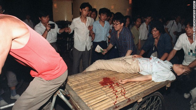 A girl wounded during the clash between the army and students on June 4, 1989.