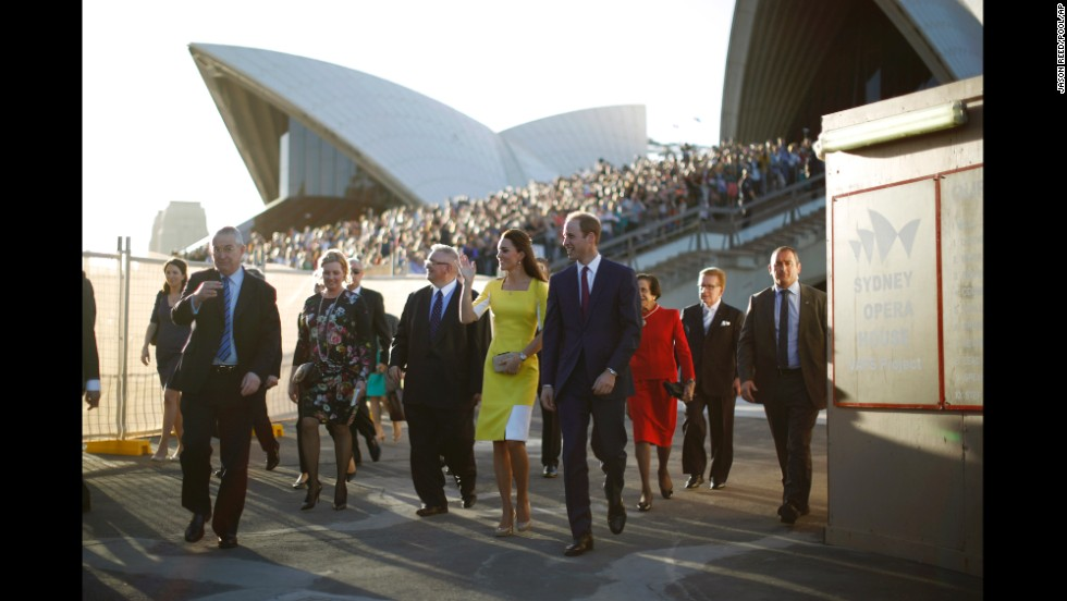 The royal couple leave the Sydney Opera House after a reception Wednesday, April 16, in the Australian city.