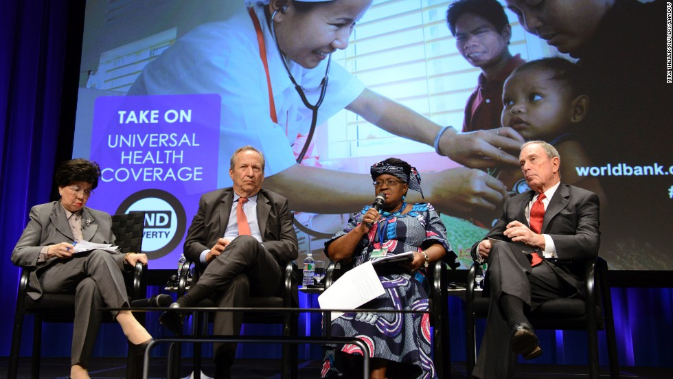 "Bloomberg, right, participates in a ""Toward Universal Health Coverage for 2030"" seminar in April during the IMF/World Bank's Spring Meetings in Washington."