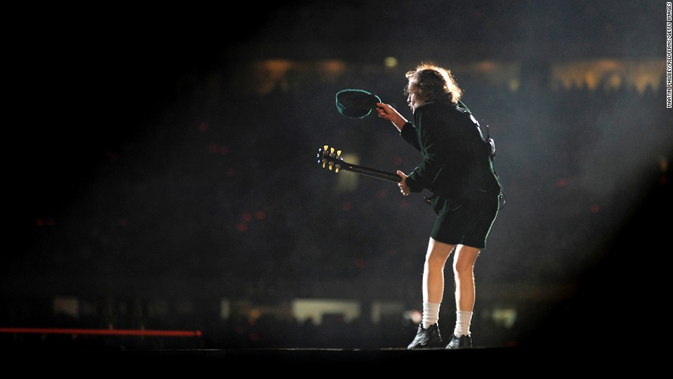 Angus Young performs with the band onstage in Melbourne in 2010.