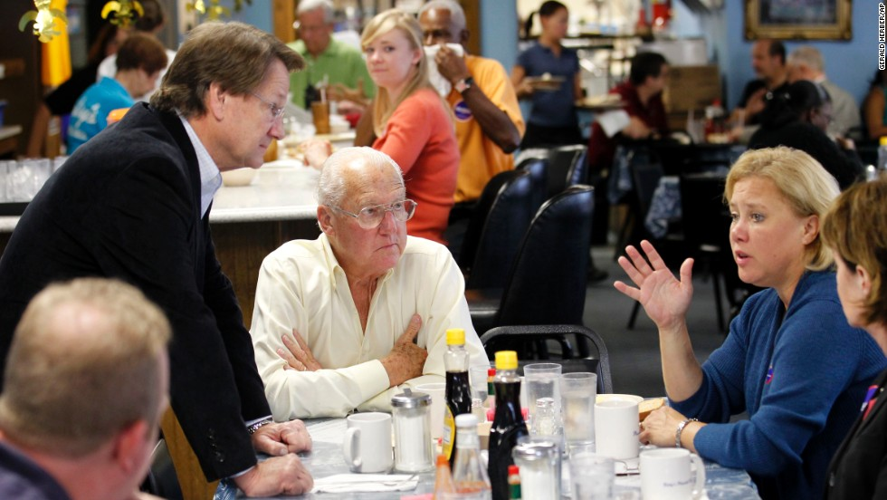 "Landrieu hails from a political dynasty which includes her brother, former lieutenant governor, state legislator and New Orleans Mayor<strong> </strong>Mitch Landrieu, and her father, former New Orleans mayor and Housing and Urban Development Secretary Maurice ""Moon"" Landrieu. They chatted over breakfast with then-Democratic Senate candidate Rep. Charlie Melancon at Betsy's Pancake House in New Orleans on November 2, 2010."