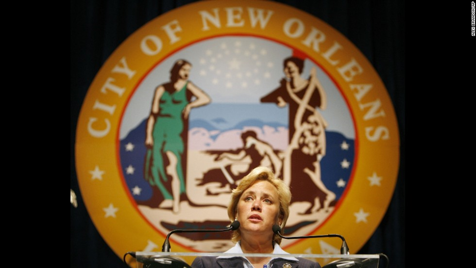 U.S. Sen. Mary Landrieu, D-Louisiana, speaks at the swearing-in ceremony for Mayor Ray Nagin at the Morial Convention Center in New Orleans on June 1, 2006.