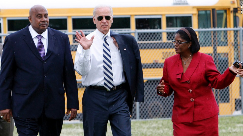 Biden visits an elementary school in North Miami Beach, Florida, in September 2011.