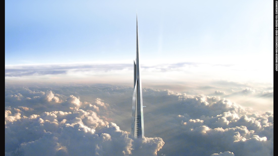 Once completed in 2020, the Kingdom Tower in Jeddah, Saudi Arabia, is likely to set new records for height at one kilometer high.
