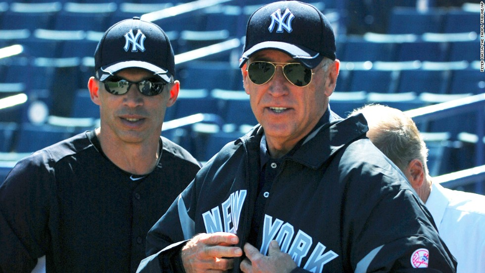 Biden chats with New York Yankees manager Joe Girardi during a Yankees practice in Tampa, Florida, in March 2011.