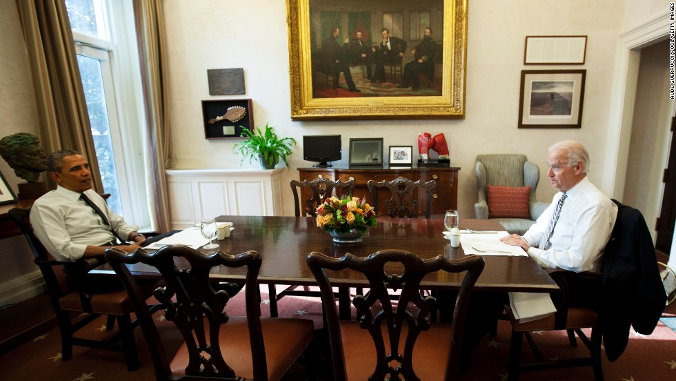 Obama and Biden meet for lunch at the White House in January 2014.