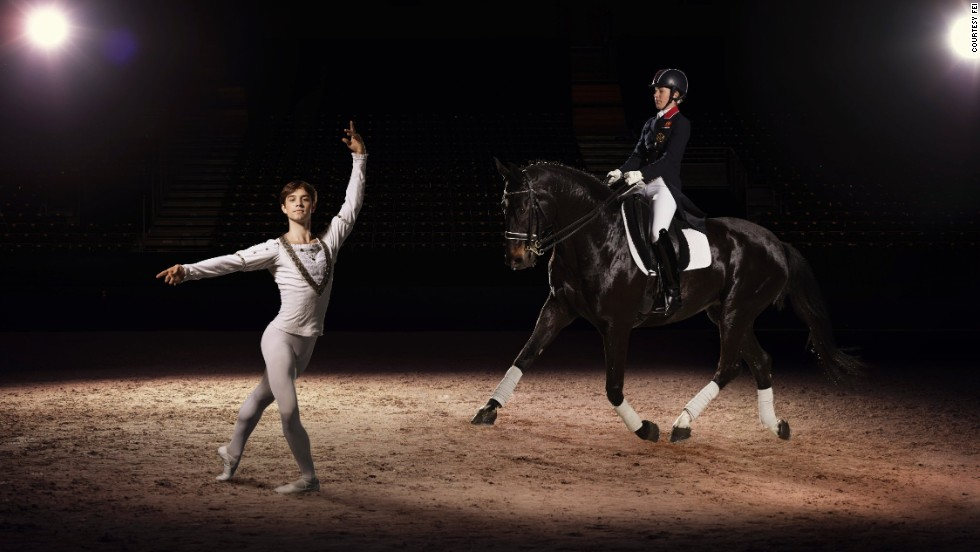 Olympic and European Dressage champion Charlotte Dujardin also demonstrated her graceful moves, riding alongside dancer Kanstantsin Geronik, in Lyon, France.