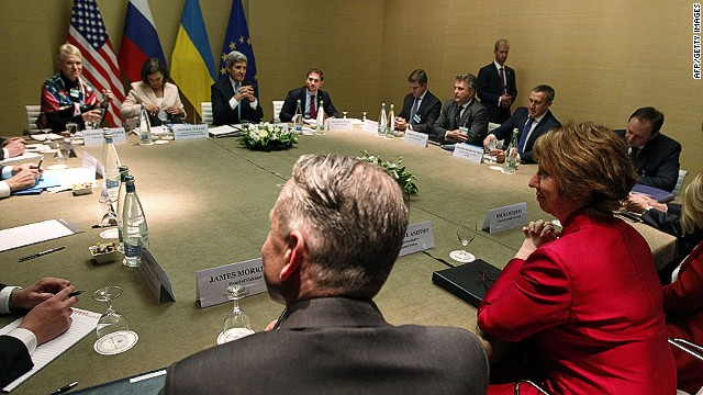 European Union High Representative Catherine Ashton (2nd R) looks on at the start of a quadrilateral meeting with US Secretary of State John Kerry (3rd L) and Ukrainian Foreign Minister Andriy Deshchytsya (3rd R) as representatives of the United States, Ukraine, Russia and the European Union meet about the ongoing situation in Ukraine in Geneva on April 17, 2014. High-stake talks bringing together Russia, Ukraine, the United States and the European Union kicked off in Geneva Thursday in a bid to ease the worsening crisis in the former Soviet republic. AFP PHOTO - POOL / JIM BOURGJIM BOURG/AFP/Getty Images