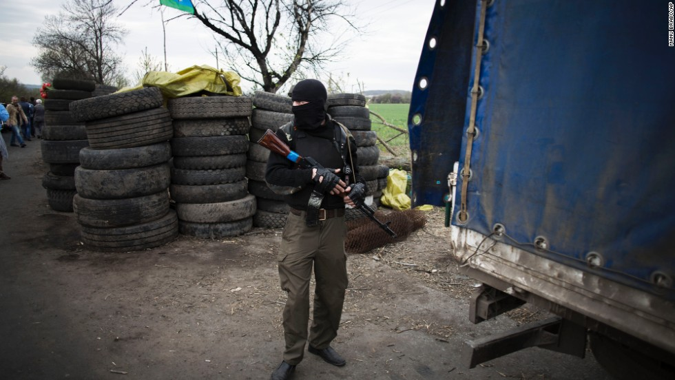 A pro-Russian militant is seen at the roadblock near Slovyansk on April 20.
