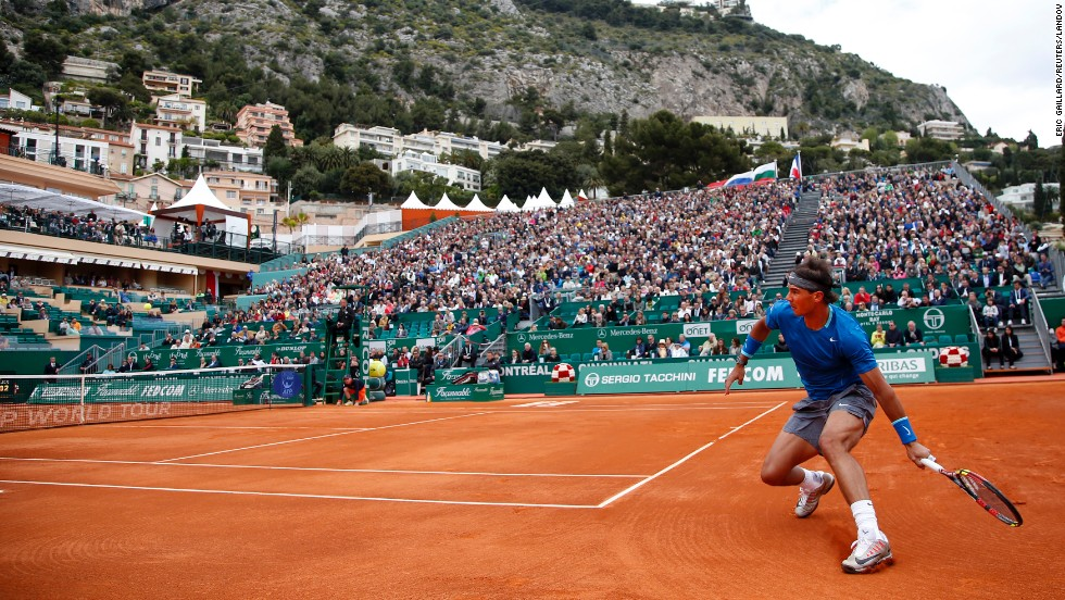 Rafael Nadal of Spain returns the ball to Teymuraz Gabashvili of Russia during the Monte Carlo Masters in Monaco on April 16.