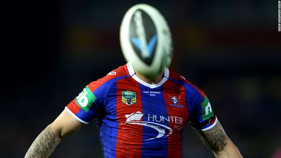 Darius Boyd of the Knights chases the ball during the round seven National Rugby League match between the Newcastle Knights and the Brisbane Broncos on April 18 in Newcastle, Australia.