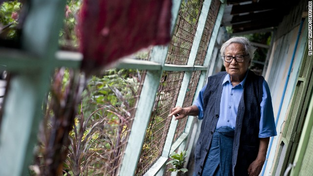 File photo: Myanmar veteran dissident Win Tin at his home in Yangon. The famous dissident was jailed 19 years for his pro-democracy activism.