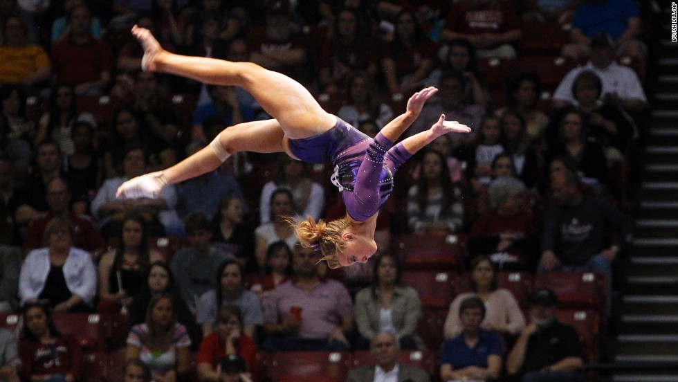 Louisiana State University's Kaleigh Dickson competes on the balance beam during the NCAA women's gymnastics championships on April 19 in Birmingham, Alabama.