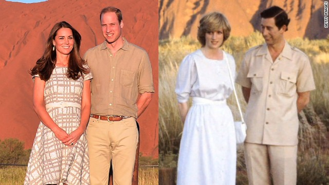 The Duke and Duchess of Cambridge visit iconic Ayers Rock, or Uluru, bringing to mind the visit made by Prince William's parents on their first trip to Australia over thirty years ago.