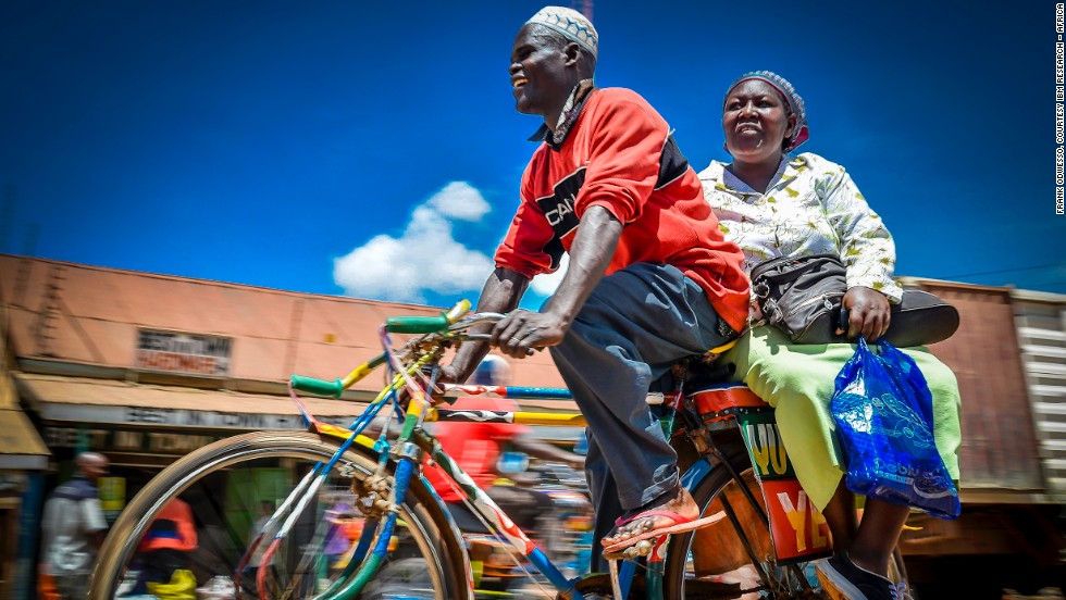 """Boda Boda"" is a bicycle taxi. Many in Western Kenya rely on boda boda to get around. Photographer Frank Odwesso's winning image highlights how Kenyans use innovation to get around what would otherwise be a setback."