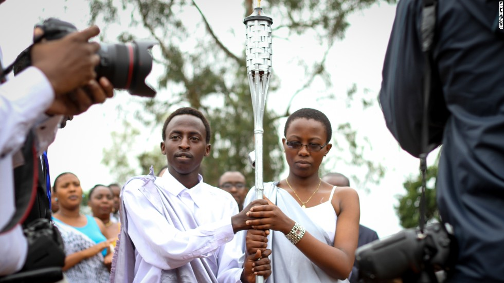 Young Rwandans carrying the Flame of Remembrance at the IPRC Stadium, Kicukiro, on April 5.