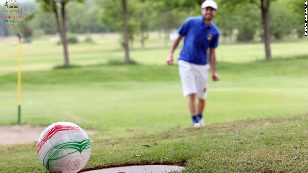 Footgolf combines elements of football and golf, with players kicking a football around a course complete with bigger holes.