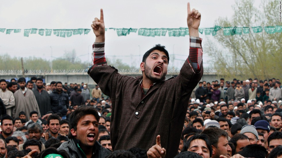 A supporter of the Peoples Democratic Party shouts slogans during an election campaign rally on the outskirts of Srinagar on April 17. Several separatist organizations have jointly appealed to the people of Jammu and Kashmir to boycott the Indian parliamentary elections.