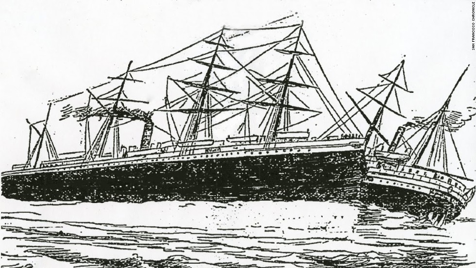 A newspaper illustration of the collision between RMS Oceanic and SS City of Chester. The 202-foot long steamship had just left San Francisco when it was struck by the steamer Oceanic.