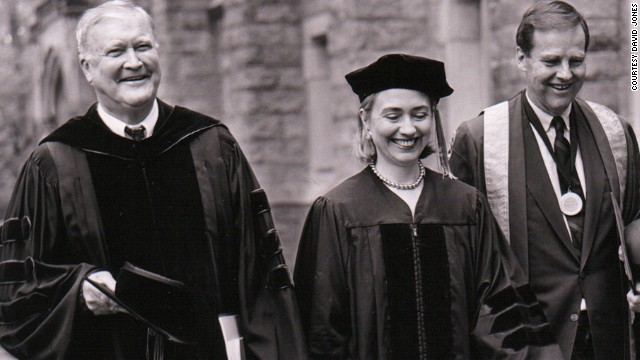 Clinton, Don Jones (left) and  former N.J. Gov. Tom Kean (right), then Drew University's president, at the school's 1996 graduation. Clinton spoke and received an honorary degree.