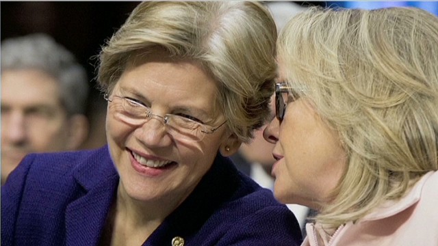 U.S. Senate seats seem to have changed Elizabeth Warren, left, and Hillary Clinton.