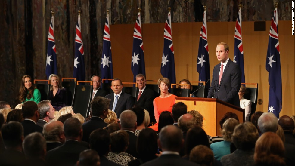 William speaks at a reception hosted by Australian Prime Minister Tony Abbott at the Parliament House in Canberra on April 24.