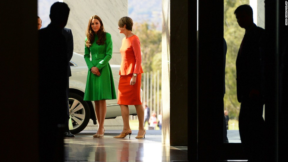 The duchess arrives at a reception at Parliament House in Canberra.