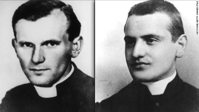 (L) Polish priest Karol Wojtyla, who became Pope John Paul II in 1978 and (R) Angelo Giuseppe Roncalli (1881 - 1963) who later became Pope John XXIII.