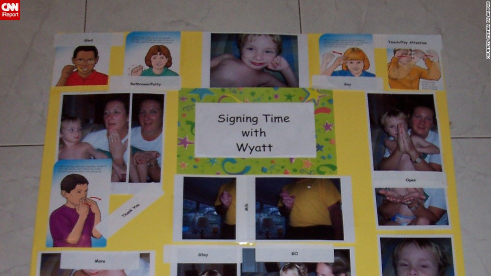 "<a href=""http://ireport.cnn.com/docs/DOC-1114287"">Cynthia Falardeau</a>'s son Wyatt initially used picture cards to communicate, but that was not enough for his peers to understand him, so the family moved to sign language. They bought a set of signing videos for his preschool class so the other children could communicate with him. He's now 11 and is very verbal."