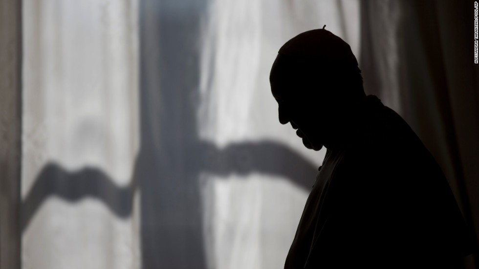 Pope Francis is silhouetted as he leaves after his meeting with Albanian Prime Minister Edi Rama and his wife, Linda, at the Vatican, on Thursday, April 24.