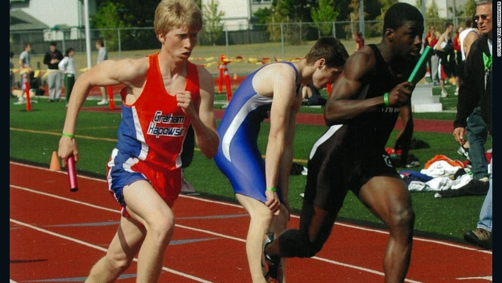 Evan was the anchor leg on the mile relay team at his high school. This photo was taken in 2006.